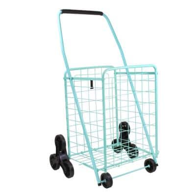 Teal Metal Cleaning Cart with Stair Climber