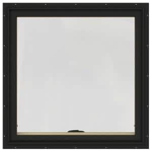 36 in. x 36 in. W-2500 Series Bronze Painted Clad Wood Awning Window w/ Natural Interior and Screen