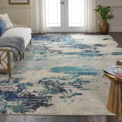 Celestial Ivory/Teal Blue 9 ft. x 12 ft. Abstract Modern Area Rug