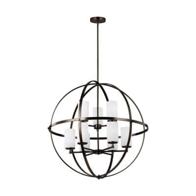 Alturas 9-Light Brushed Oil Rubbed Bronze Modern Hanging Globe Chandelier with Glass Shades