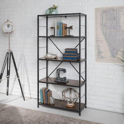 63 in. Dark Walnut/Black Metal 4-shelf Etagere Bookcase with Open Back