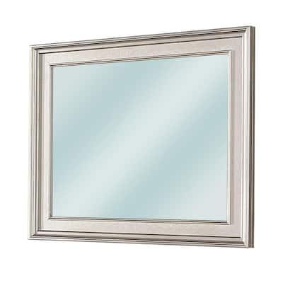 38.5 in. x 46 in. Contemporary Rectangle Silver Decorative Mirror