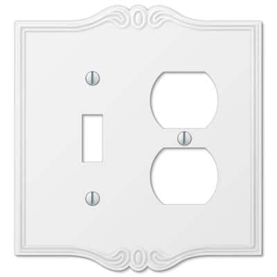 Charleston 2 Gang 1-Toggle and 1-Duplex Composite Wall Plate - White