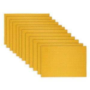 19 in. x 13 in. Lemon Reversible Indoor Outdoor Tonal Placemats PVC and Polyester Blend (Set of 12)
