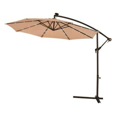 10 ft. Steel Cantilever Solar Tilt Patio Umbrella with LED Lights and Cross Base in Beige