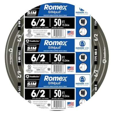 50 ft. 6/2 Stranded Romex SIMpull CU NM-B W/G Wire