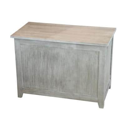 Solid Bamboo Brushed Gray Storage Chest Bench 18 in x 26 in x 14 in