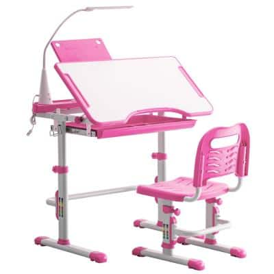 Pink Kids Table and Chair Set with Desk Lamp