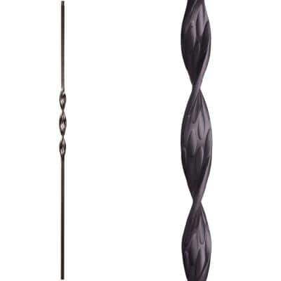 Ribbon Twist 44 in. x 0.5 in. Satin Black Single Ribbon Solid Wrought Iron Baluster