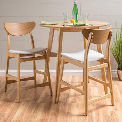 Gavin 36.4 in. Light Beige/Oak Finish Fabric Counter Chairs (Set of 2)