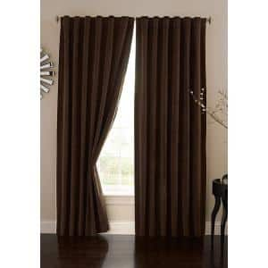 Chocolate Faux Velvet Thermal Blackout Curtain - 50 in. W x 84 in. L