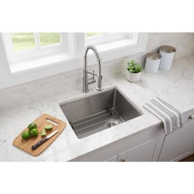 Tight Radius Stainless Steel 23 in. 18-Gauge Single Bowl Undermount Kitchen Sink with Grid and Strainer