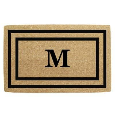 30 in. x 48 in. Monogrammed M Heavy Duty Black Thin Double Picture Frame Coco Door Mat