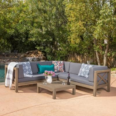 Brava gray 4-Piece Wood Outdoor Sectional Set with Dark gray Cushions