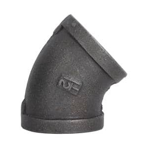 1-1/2 in. x 1-1/2 in. Black Malleable Iron 45° FPT x FPT Elbow