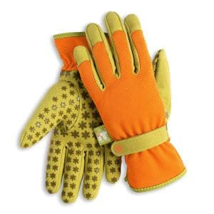 Women's Large Nail and Fingertip Protector Gardening Gloves in Burnt Orange