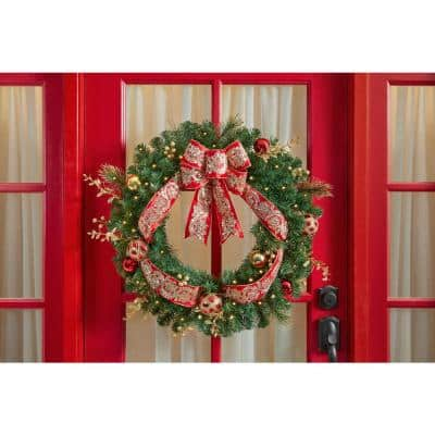 30 in Royal Easton Battery Operated Pine LED Pre-Lit  Artificial Wreath with Timer
