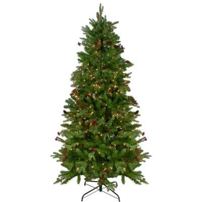 7.5 ft. Pre-Lit Mixed Winter Berry Pine Artificial Christmas Tree with Clear Lights