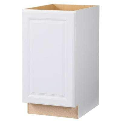 Hampton Satin White Raised Panel Stock Assembled Pull Out Trash Can Base Kitchen Cabinet (18 in. x 34.5 in. x 24 in.)