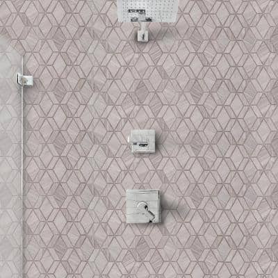 Crescent Gray 11.625 in. x 10.5 in. Geometric Honed Limestone Wall and Floor Mosaic Tile (0.847 sq. ft./Each)