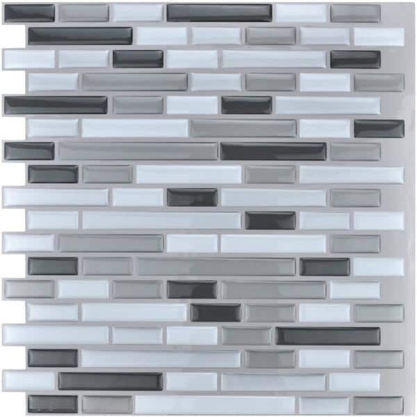 Art3d 12 In X 12 In Grey Peel And Stick Tile Backsplash For Kitchen 10 Pack A17002p10 The Home Depot