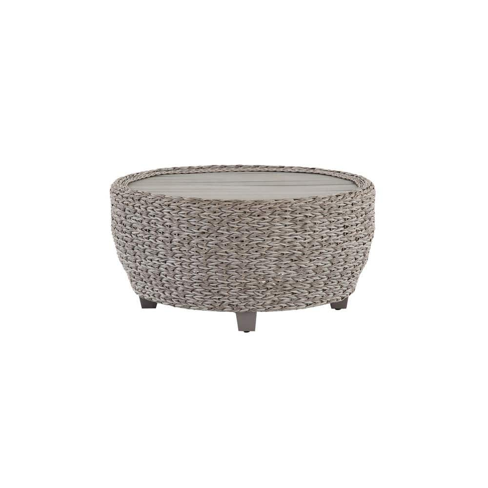Hampton Bay 36 In Megan Grey All Weather Wicker Outdoor Patio Large Round Coffee Table With Slatted Wood Top 65 51751l The Home Depot [ 1000 x 1000 Pixel ]