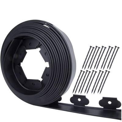 50 ft. Black Plastic No-Dig PE with Landscape Garden Edging Kit (10-Spikes)