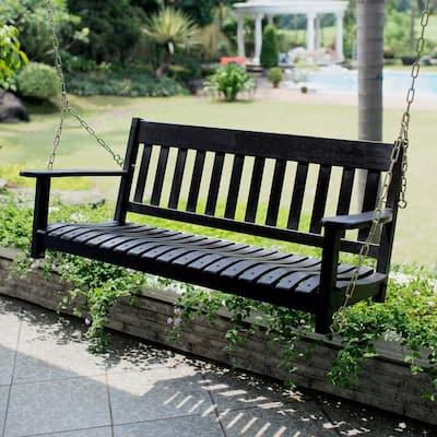 Thames Black Wood Porch Swing