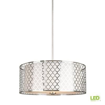 Jourdanton 3-Light Brushed Nickel Pendant with LED Bulbs