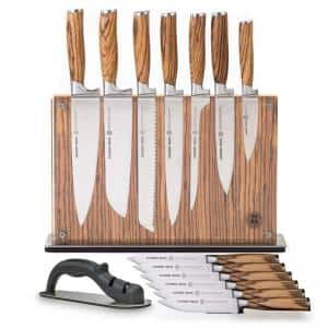 15-Piece Stainless Steel Cutlery Zebra Wood Set with Zebra Downtown Knife Block