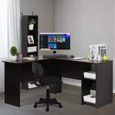 54 in. L-Shaped Espresso Computer Desk with Shelves