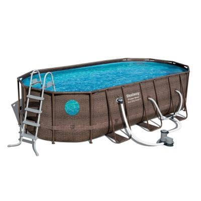 Bestway Power Steel Swim Vista 18 ft. x 9 ft. x 4 ft. Swimming Pool Set with Pump