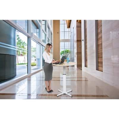 31.5 in. Rectangular Teak Standing Desks with Adjustable Height