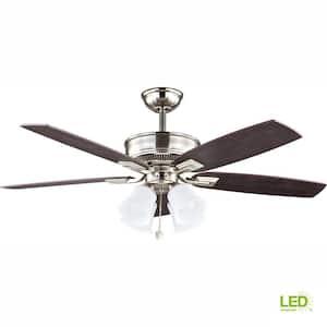 Devron 52 in. LED Indoor Brushed Nickel Ceiling Fan with Light Kit