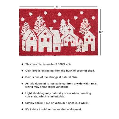 White 18 in. x30 in. Machine Tufted Winter Homes Doormat