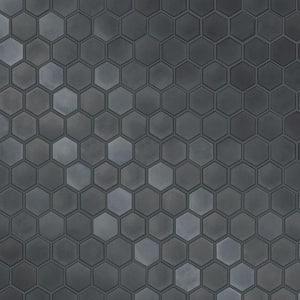 Hexagon Tile Gunmetal Peel and Stick Wallpaper (Covers 56 sq. ft.)
