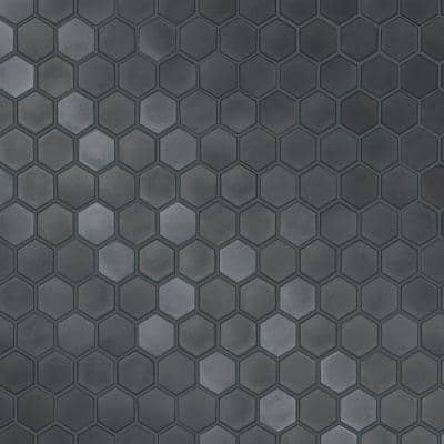 Hexagon Tiles Gunmetal Wallpaper Sample