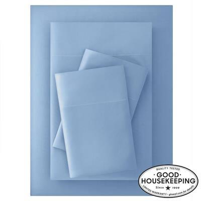 Brushed Soft Microfiber 4-Piece Full Sheet Set in Washed Denim