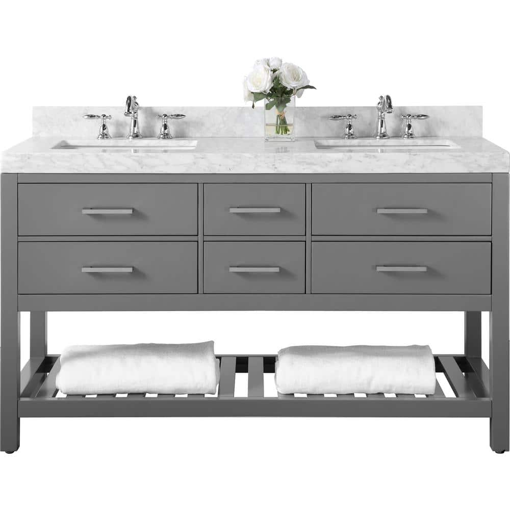 Ancerre Designs Elizabeth 60 In W X 22 In D Vanity In Sapphire Gray With Marble Vanity Top In Carrara White With White Basins Vts Elizabeth 60 Sg Cw The Home Depot