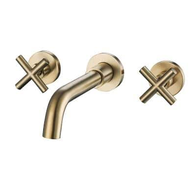 2-Handle Wall Mount Bathroom Faucet in Brushed Gold