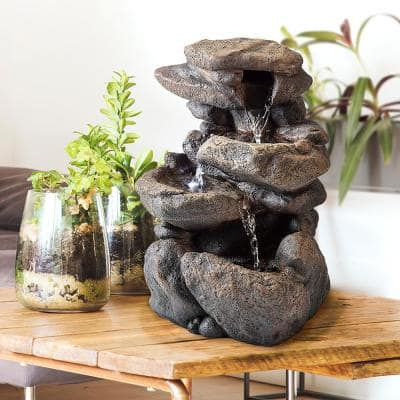 11 in. Tall Indoor 3-Tier Tabletop Stone Water Fountain with LED Lights