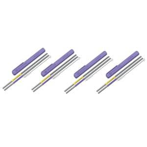 Eco-Friendly 2-Piece Purple and Yellow Reusable Straws (Set of 4)
