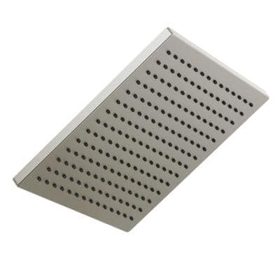 1-Spray 11.8 in. Single Wall Mount Square Fixed Rain Shower Head in Stainless