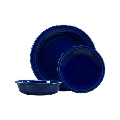 3-Piece Casual Cobalt blue Ceramic Dinnerware Set (Service for 1)