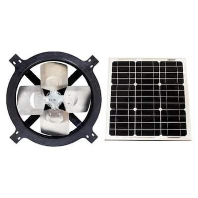 1820 CFM Black Solar Powered Gable Mount Solar Attic Fan