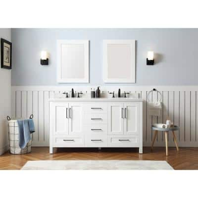 Montcastle 60 in. W x 22 in. D Vanity in White with Cultured Marble Vanity Top in White with White Basins