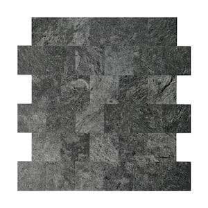 12 in. x 12 in. Stainless Steel Backsplash in Subway Stone Black (5-Piece)