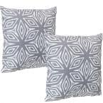 17 in. x 17 in. Gray Geometric Outdoor Decorative Throw Pillows (Set of 2)