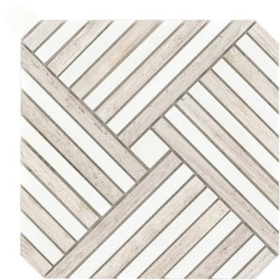 Alluro Cream 9.02 in. x 9.02 in. Basketweave Polished Marble Mosaic Tile (0.564 sq. ft./Each)