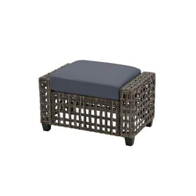Briar Ridge Brown Wicker Outdoor Patio Ottoman with CushionGuard Sky Blue Cushions